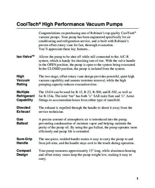 Robinair SPX 15434 High Performance Vacuum Pump With Refrigerants R
