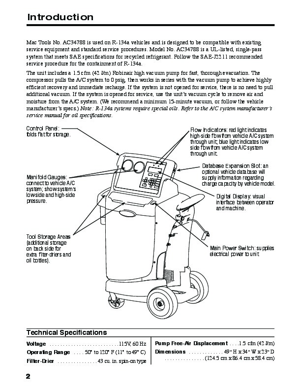 robinair spx ac34788 recovery recycling recharging unit owners manual - 4  of 24