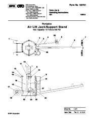SPX OTC 1591A Air Lift Jack Support Stand Max Capacity 10ns At 200 PSI Owners Manual page 1