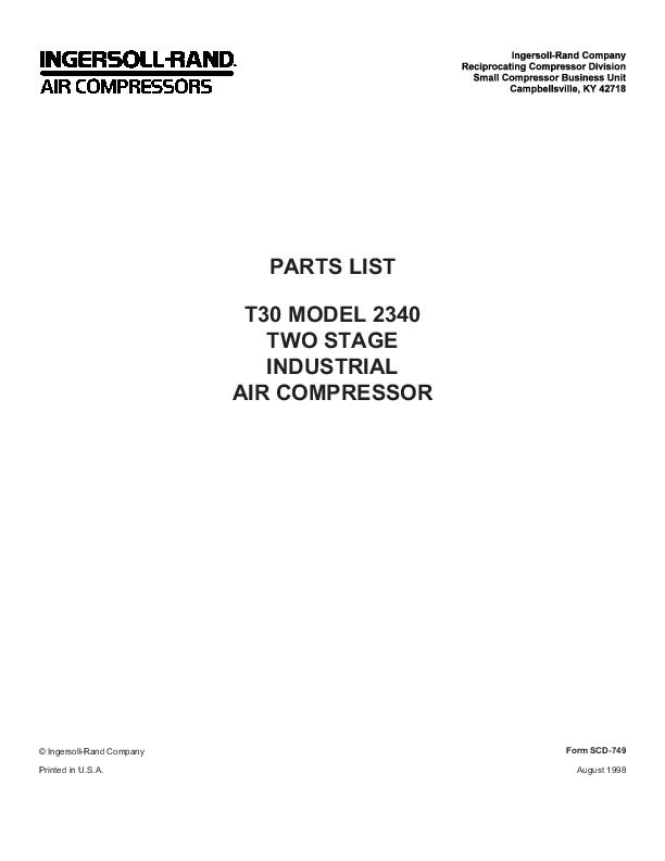ingersoll rand t30 2340 two stage air compressor parts list manual rh power tool filemanual com ingersoll rand sd45d parts manual ingersoll rand compressor parts manual