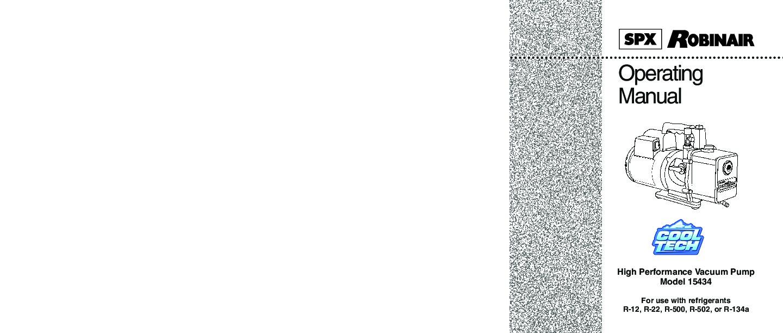Robinair SPX 15434 High Performance Vacuum Pump Refrigerants R 12 R