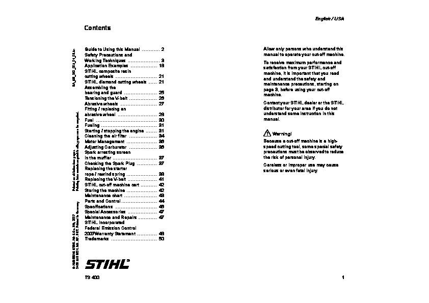 M. G. Judd ltd stihl ts400 parts list.