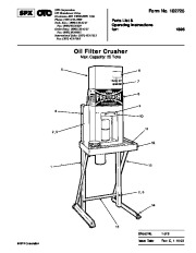 SPX OTC 1896 Oil Filter Crusher Max Capacity 25ns Parts List page 1