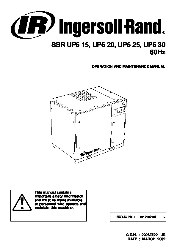 ingersoll rand ssr up6 15 up6 20 up6 25 up6 30 60hz air compressor rh power tool filemanual com Ingersoll Rand ManualDownload Ingersoll Rand Roller Parts Breakdown