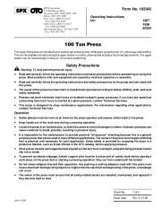 SPX OTC 1857 1858 60534 100 Ton Press Owners Manual page 1