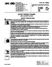 SPX OTC 014 00094 1852 014 00095 211750 1850 61309 1851 SHOP PRESS FRAME Owners Manual page 1