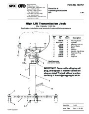 SPX OTC 1791 Lift Table High Lift Transmission Jack Owners Manual page 1