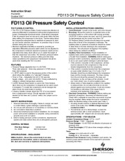 Emerson Copeland Instruction Sheet FD113 Oil Pressure Safety Control Compressor Manual, 2007 page 1
