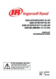 Ingersoll Rand SSR XFE EPE HPE SSR XF EP SSR XF EP XP 50 60 75 100 HP SSR ML MM MH 37 75 KW Air Compressor Parts List page 1