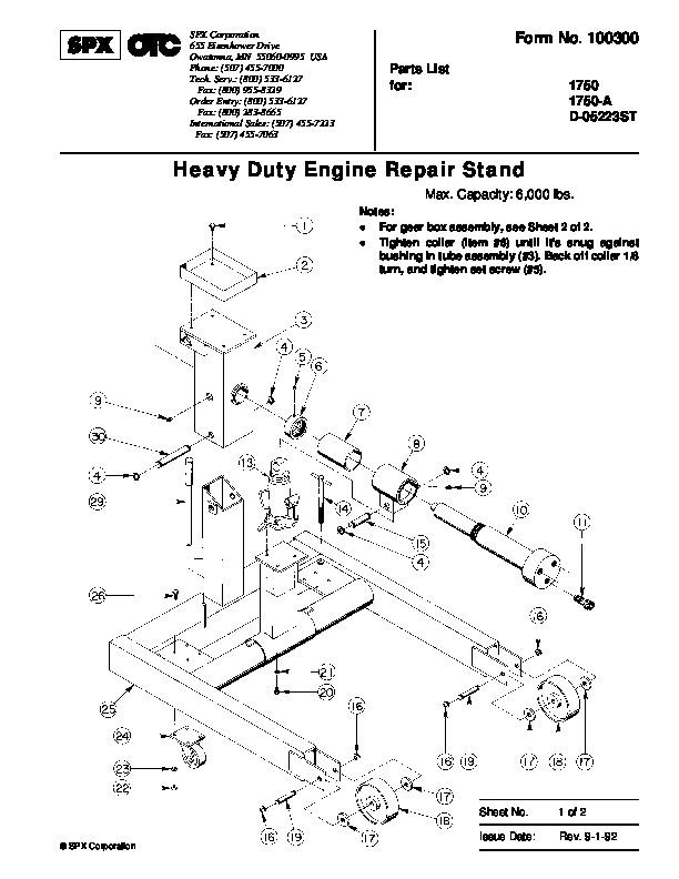 Otc Motorcycle Lift : Spx otc a d st lift table heavy duty engine