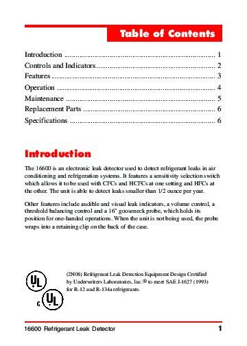 robinair spx 16600 refrigerant leak detector owners manual rh power tool filemanual com Operators Manual Corvette Owners Manual